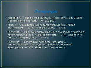 Литература Андреев А. А. Введение в дистанционное обучение: учебно-методическ