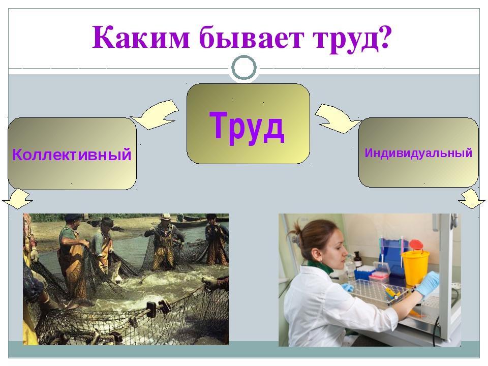 Каким бывает труд? Труд Индивидуальный Коллективный