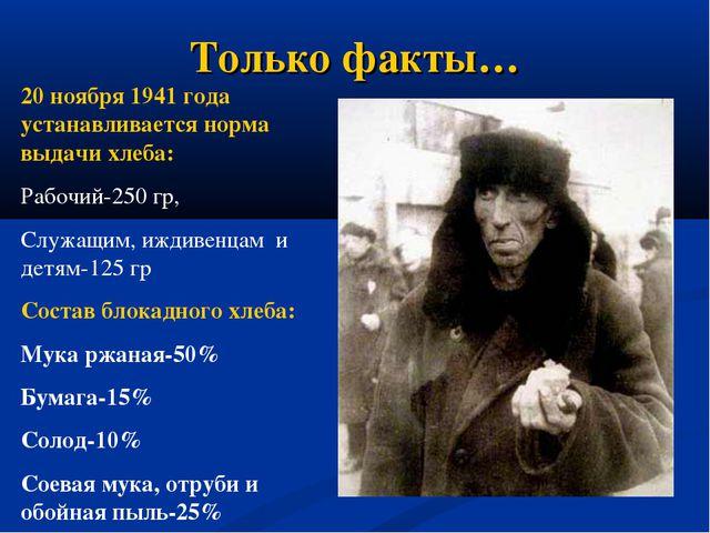 Только факты… 20 ноября 1941 года устанавливается норма выдачи хлеба: Рабочий...