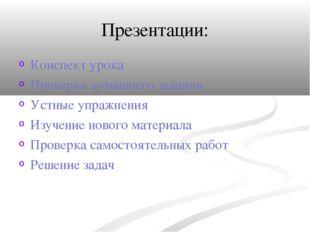 Презентации: Конспект урока Проверка домашнего задания Устные упражнения Изуч
