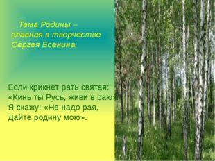 Тема Родины – главная в творчестве Сергея Есенина. Если крикнет рать святая: