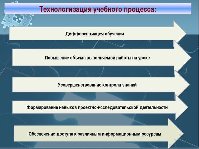 Технологизация учебного процесса: Дифференциация обучения Повышение объема вы...