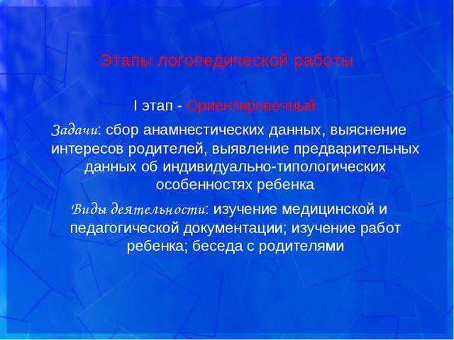 Этапы логопедической работы I этап - Ориентировочный Задачи: сбор анамнестиче...