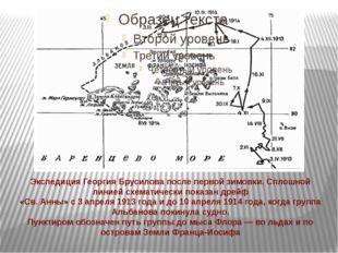 Экспедиция Георгия Брусилова после первой зимовки. Сплошной линией схематичес