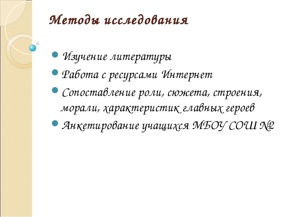 Методы исследования Изучение литературы Работа с ресурсами Интернет Сопоставл...