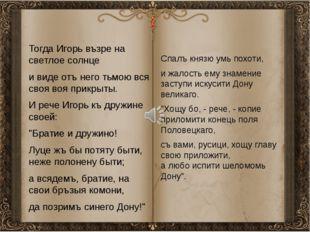 Тогда Игорь възре на светлое солнце и виде отъ него тьмою вся своя воя прикр
