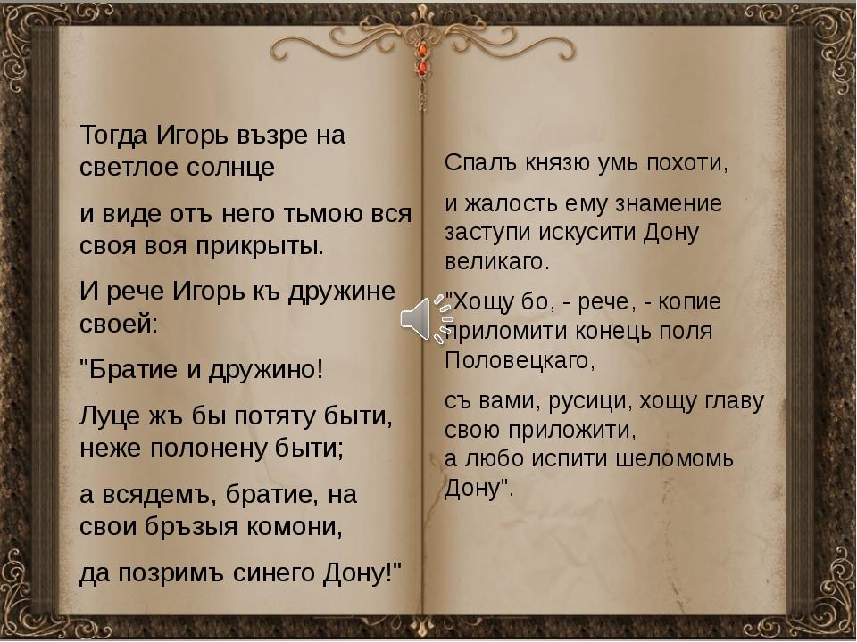 Тогда Игорь възре на светлое солнце и виде отъ него тьмою вся своя воя прикр...