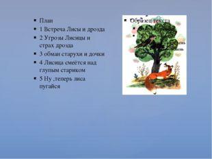 План 1 Встреча Лисы и дрозда 2 Угрозы Лисицы и страх дрозда 3 обман старухи