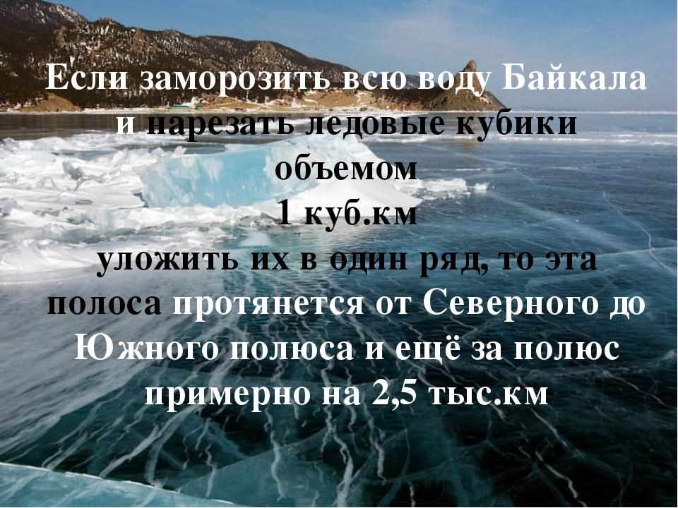 Если заморозить всю воду Байкала и нарезать ледовые кубики объемом 1 куб.км у...