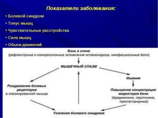 Показатели заболевания: Болевой синдром Тонус мышц Чувствительные расстройств