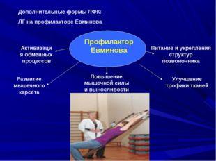 Дополнительные формы ЛФК: ЛГ на профилакторе Евминова Профилактор Евминова