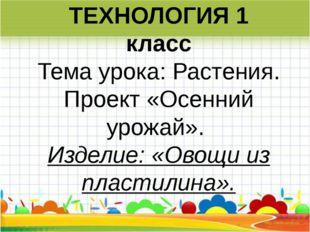 ТЕХНОЛОГИЯ 1 класс Темаурока:Растения. Проект «Осенний урожай». Изделие: