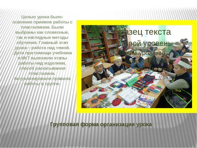 Групповая форма организации урока Целью урока было- освоение приемов работы с...