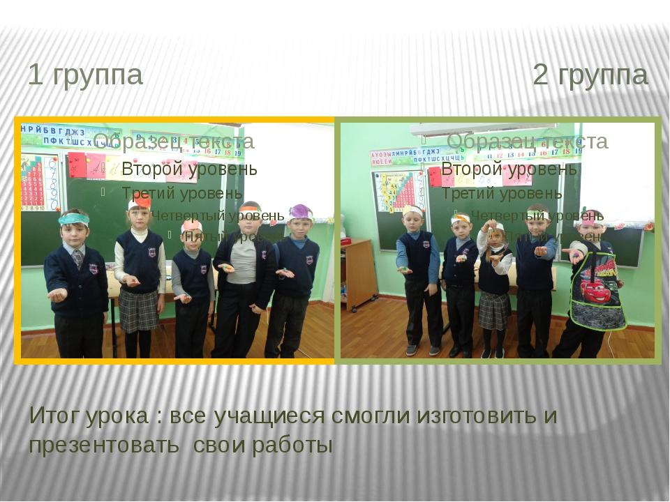 Итог урока : все учащиеся смогли изготовить и презентовать свои работы 1 груп...