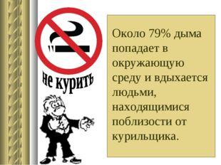 Около 79% дыма попадает в окружающую среду и вдыхается людьми, находящимися