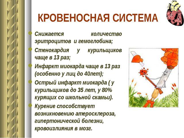 КРОВЕНОСНАЯ СИСТЕМА Снижается количество эритроцитов и гемоглобина; Стенокард...