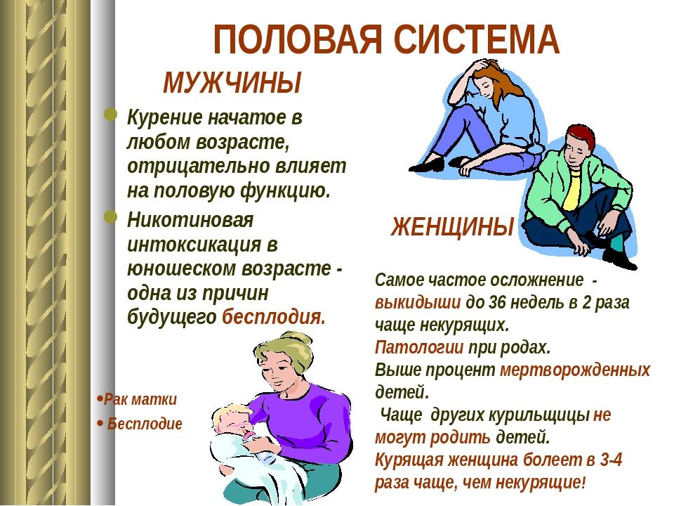 ПОЛОВАЯ СИСТЕМА МУЖЧИНЫ Курение начатое в любом возрасте, отрицательно влияет...
