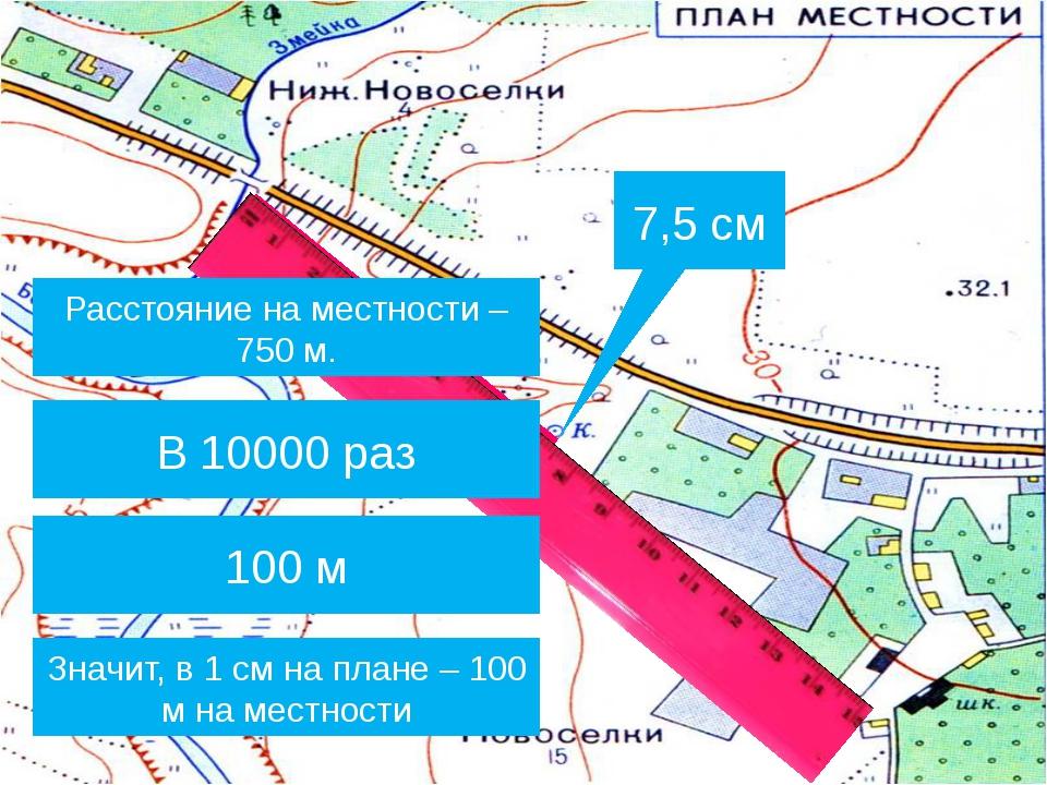 7,5 см Расстояние на местности – 750 м. Во сколько раз расстояние на местност...