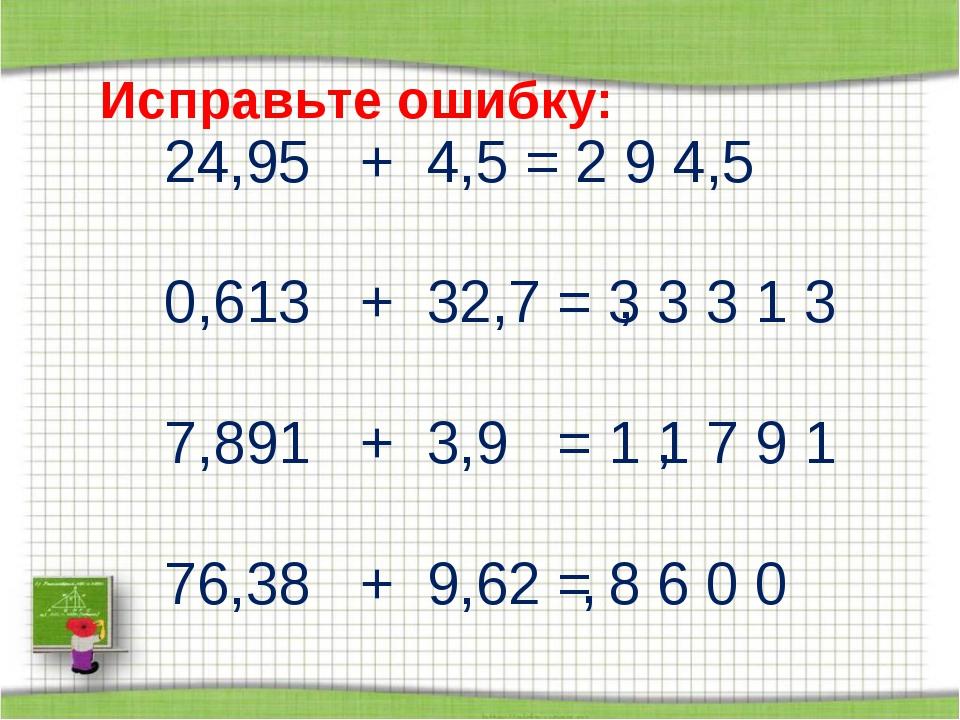 Исправьте ошибку: 24,95 + 4,5 = 2 9 4,5 0,613 + 32,7 = 3 3 3 1 3 7,891 + 3,9...