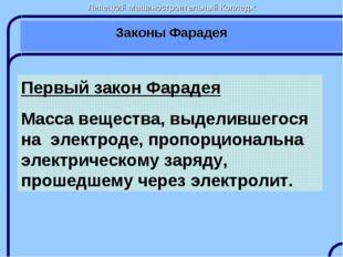 Липецкий Машиностроительный Колледж Законы Фарадея Первый закон Фарадея Масса