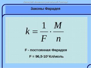 Липецкий Машиностроительный Колледж Законы Фарадея F - постоянная Фарадея F =