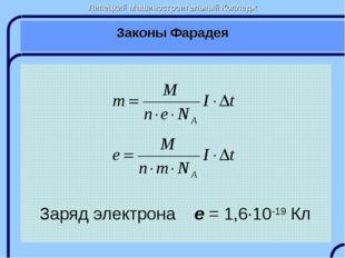 Липецкий Машиностроительный Колледж Законы Фарадея Заряд электрона e = 1,6∙10