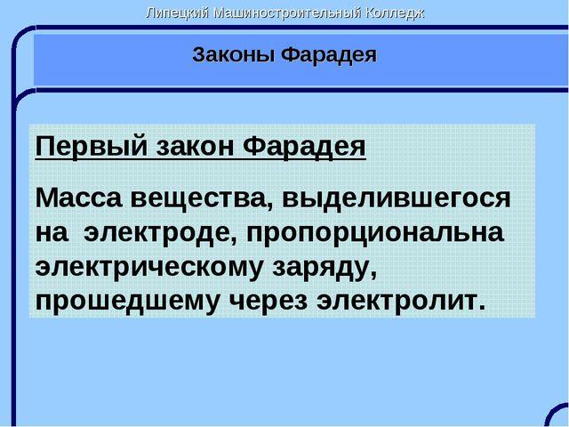 Липецкий Машиностроительный Колледж Законы Фарадея Первый закон Фарадея Масса...