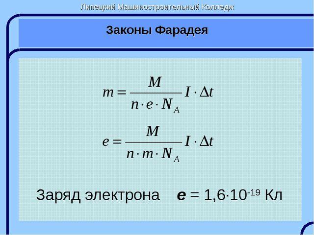 Липецкий Машиностроительный Колледж Законы Фарадея Заряд электрона e = 1,6∙10...