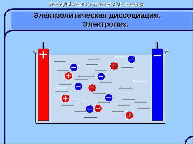 Липецкий Машиностроительный Колледж Электролитическая диссоциация. Электролиз.