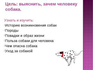Цель: выяснить, зачем человеку собака. Узнать и изучить: Историю возникновени