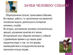 Общепризнанна польза, приносимая собаками. Во-первых, работа, т.е. выполнени