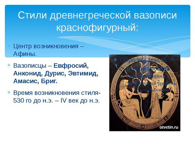 Стили древнегреческой вазописи краснофигурный: Центр возникновения – Афины. В...