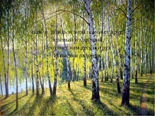 Нам в дождь и зной поможет друг, Зеленый и хороший, Протянет нам десятки рук...