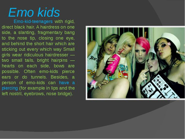 Emo kids Emo-kid-teenagers with rigid, direct black hair. A hairdress on one...