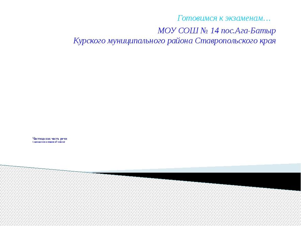 Частица как часть речи ( урок русского языка в 7 классе) Готовимся к экзамен...