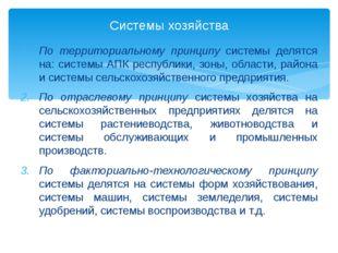 По территориальному принципу системы делятся на: системы АПК республики, зоны