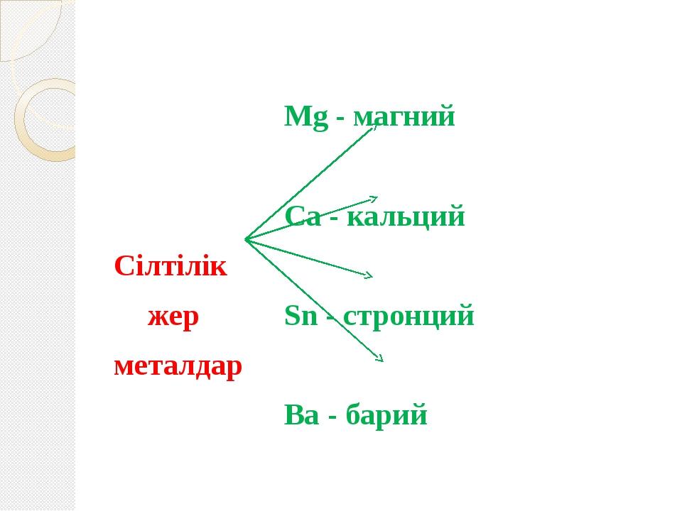 Mg - магний Ca - кальций Сілтілік жерSn - стронций металд...