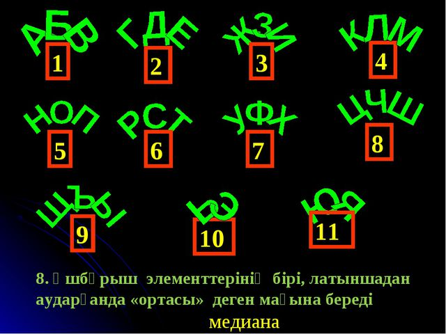 4 1 6 3 2 5 9 8 7 10 11 медиана 8. Үшбұрыш элементтерінің бірі, латыншадан ау...