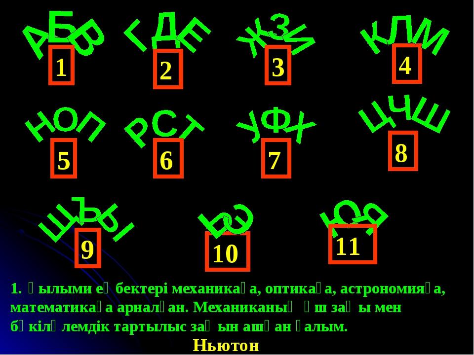 4 1 6 3 2 5 9 8 7 10 11 Ғылыми еңбектері механикаға, оптикаға, астрономияға,...