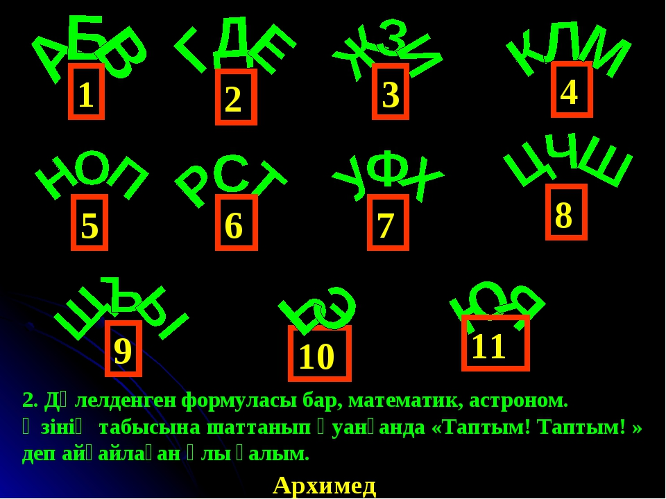 4 1 6 3 2 5 9 8 7 10 11 Архимед 2. Дәлелденген формуласы бар, математик, астр...