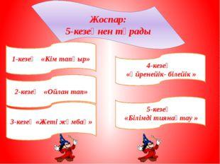 Жоспар: 5-кезеңнен тұрады 1-кезең «Кім тапқыр» 2-кезең «Ойлан тап» 3-кезең «Ж