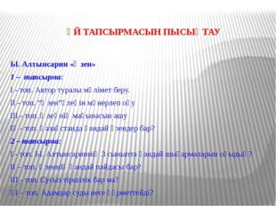 ҮЙ ТАПСЫРМАСЫН ПЫСЫҚТАУ Ы. Алтынсарин «Өзен» 1 – тапсырма: І - топ. Автор тур
