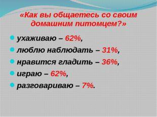 «Как вы общаетесь со своим домашним питомцем?» ухаживаю – 62%, люблю наблюдат