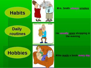 Habits Hobbies Daily routines Mrs. Smith always smokes He usually goes shoppi