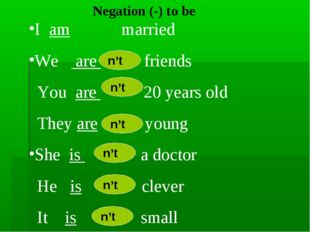 Negation (-) to be I am married We are friends You are 20 years old They are
