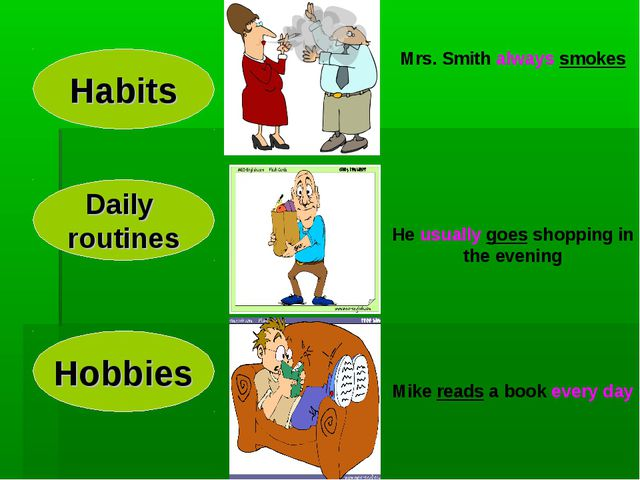 Habits Hobbies Daily routines Mrs. Smith always smokes He usually goes shoppi...