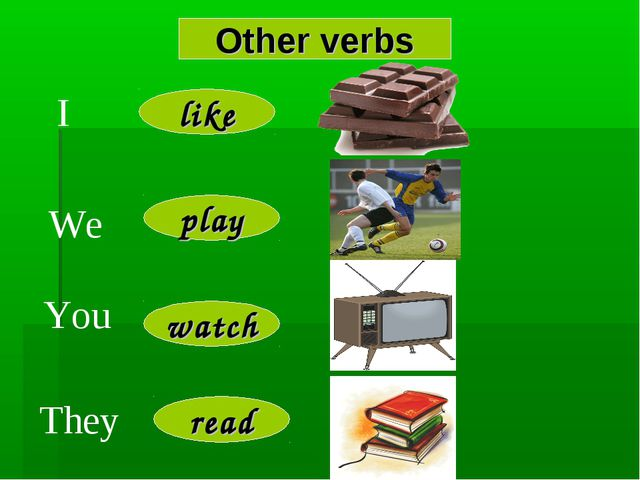 Other verbs I We You They like read watch play