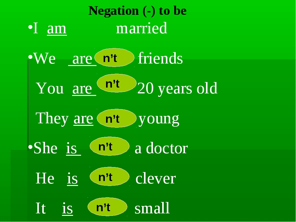 Negation (-) to be I am married We are friends You are 20 years old They are...
