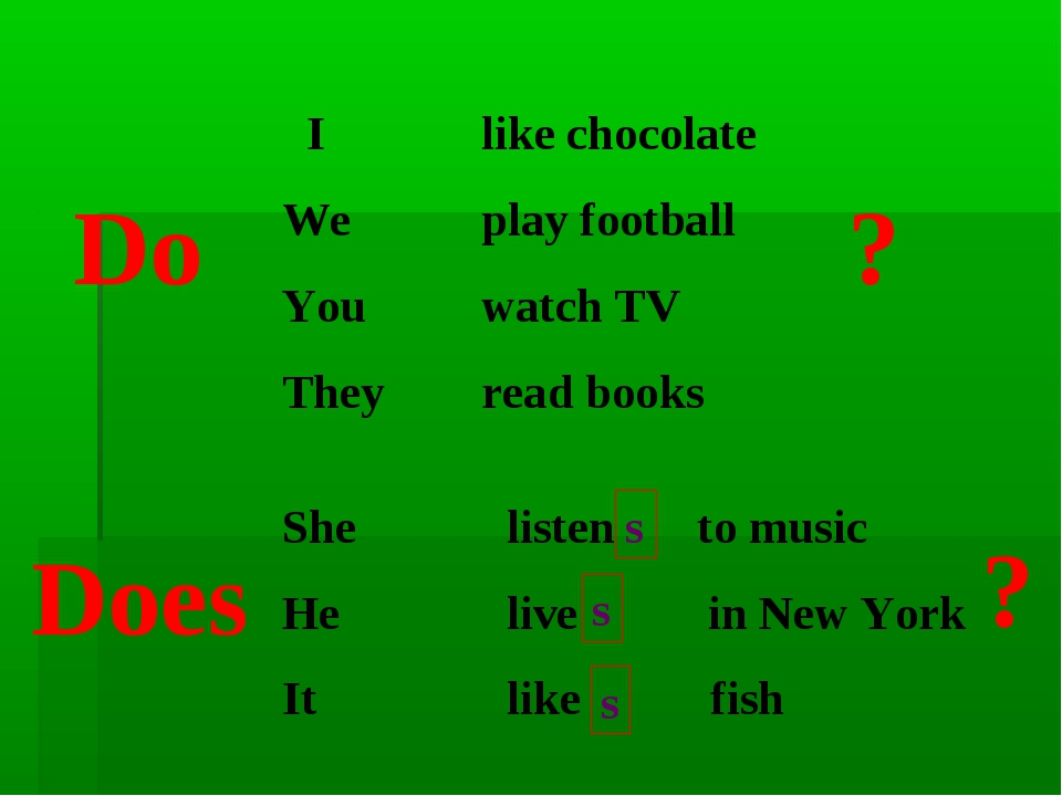 I We You They like chocolate play football watch TV read books Do ? She He I...