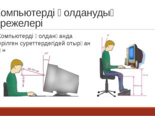 Компьютерді қолданудың ережелері Компьютерді қолданғанда берілген суреттердег